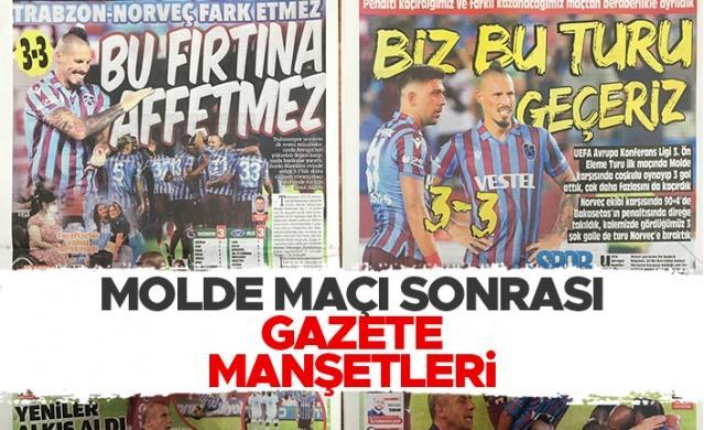 Haberlobi - Spor Servisi // Trabzonspor'un Molde ile UEFA Konferans Ligi 3. ön eleme maçında 3-3 berabere kalmasının ardından gazeteler hangi maşeti attı?  Sizler için derledik...