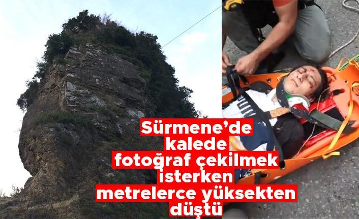 Sürmene'de kalede fotoğraf çekilmek isterken metrelerce yüksekten düştü