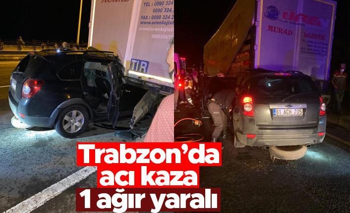 Trabzon'da lüks jip park halindeki tırın altına girdi: 1 ağır yaralı