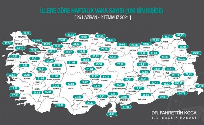 Antalya'da 100 bin kişide görülen vaka sayısında artış