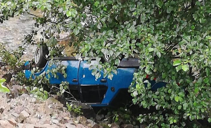 Araklı'da şarampole uçan araçtan sağ çıktılar