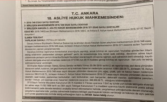 FETÖ elebaşı Gülen'e gazete ilanıyla tebligat yapıldı